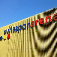 Lucerne Swissporarena lettering on the outer facade
