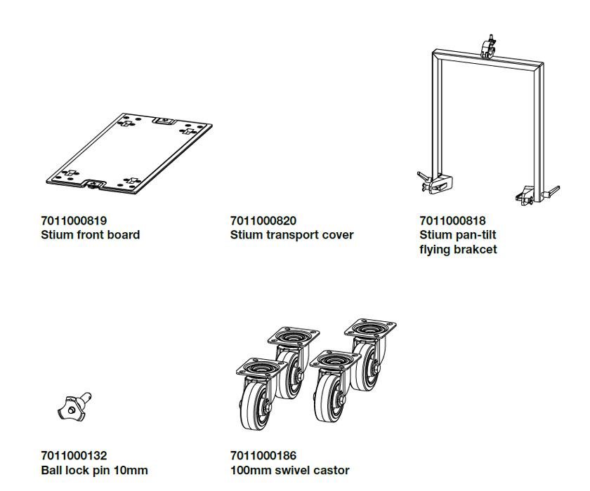 Abbildungen des Zubehörs für den Stium Lautsprecher