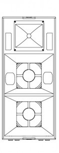 Technical drawing of the STIUM loudspeaker system