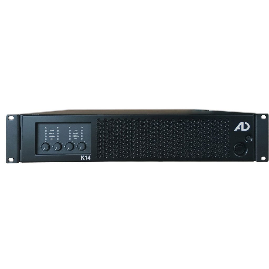 The high-performance power amplifier K14 with DSP delivers 14,000 watts of unmatched power thanks to its active PFC