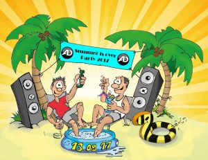 AD-Systems Comiczeichnung Sommerparty 2017