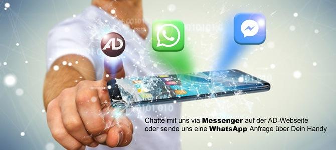 Facebook Messenger und WhatsApp Business jetzt bei AD-Systems im Einsatz